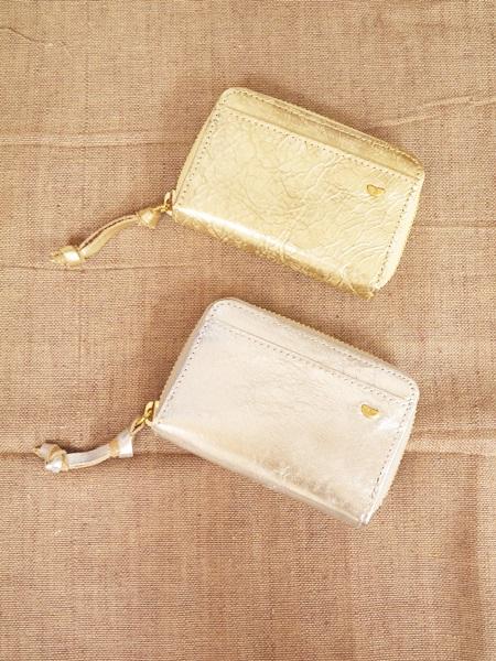 画像1: 【ネコポス可】アロマドミュゲ レザーファスナーミニ財布 (1)