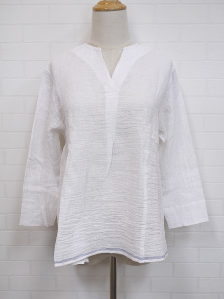 画像1: 【2020 S/S SALE 50%OFF】マルクドブロデュー EDGE BORDER key neck blouse/OW (1)