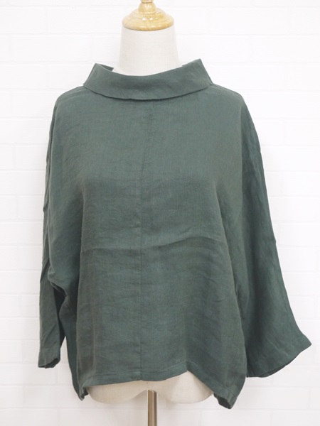 画像1: 2020AW 40%OFF Slub linen Blouse/グリーン MB (1)