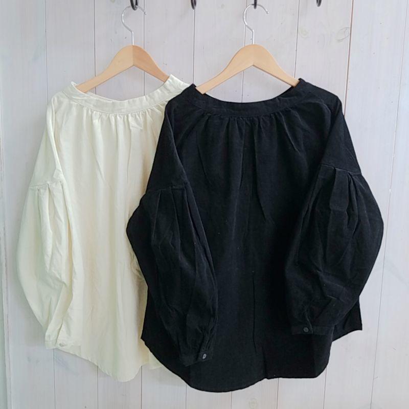 画像1: 袖バルーン後ろリボン襟ギャザーブラウス ubasoku (1)