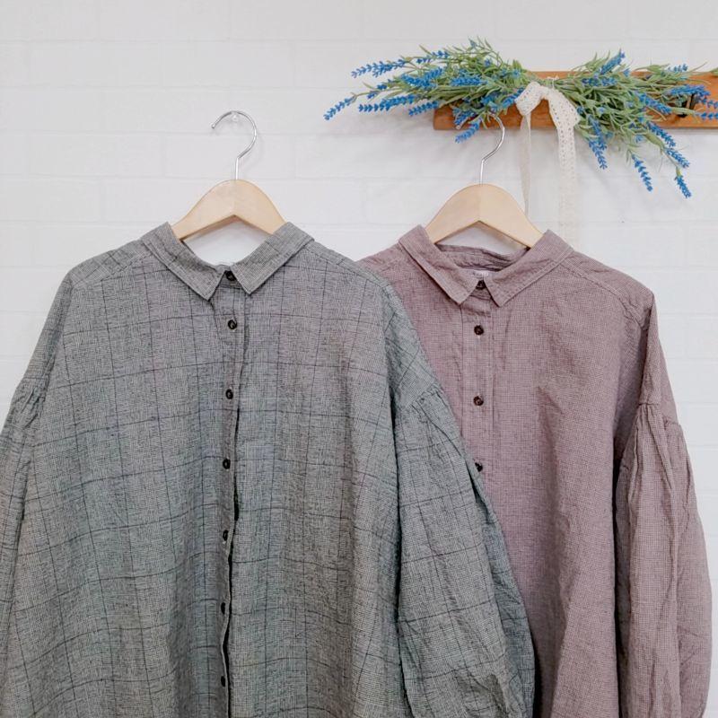 画像1: 綿麻平織千鳥・グレンチェック製品染ギャザーシャツ SUN VALLEY (1)