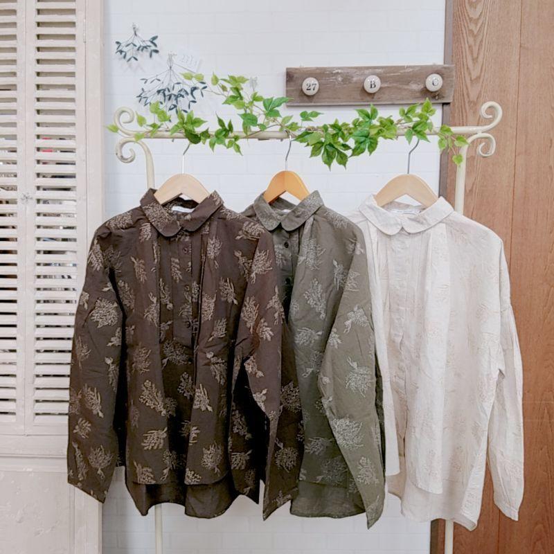 画像1: 2020AW 40%OFF 21綿麻総柄プリントラメブーケ柄タックシャツ SUN VALLEY (1)