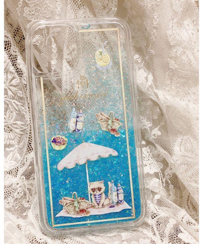 画像1: A・S様ご予約品【対応機種選べます】トゥインクルiPhoneケース/バカンススーちゃん(ブルー)  yukiemon (1)